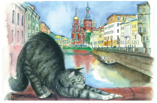 """Postcard St Petersburg Russia cats """"Church of the Savior on Blood"""""""
