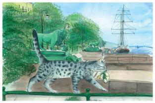 "Postcard St Petersburg Russia cats ""Dvortsovaya pier"""