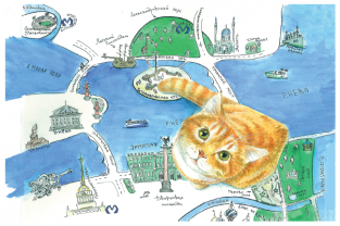 "Postcard St Petersburg Russia cats ""St Petersburg Map"""