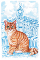 """Postcard St Petersburg Russia cats """"Singer House, House of the Book"""""""