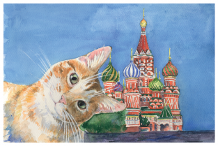 """Postcard Moscow Russia cats """"Saint Basil's Cathedral"""""""