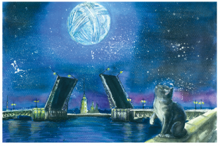 "Postcard St Petersburg Russia cats ""Palace Bridge"""