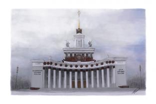 """Открытка карандаш Москва """"ВДНХ"""""""