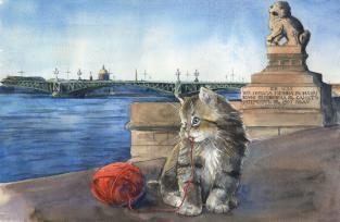 "Открытка Санкт-Петербург коты ""Троицкий мост"""