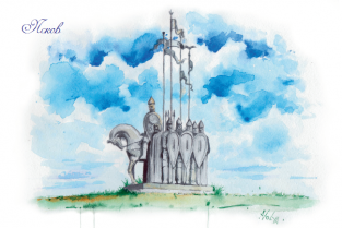 """Открытка акварель Псков """"Памятник Ледовому побоищу"""""""