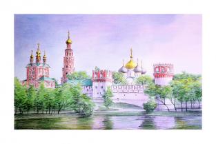 """Открытка карандаш Москва """"Новодевичий монастырь"""""""
