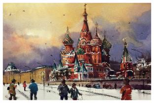 """Москва """"Собор Василия Блаженного, зима"""""""