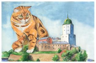 """Открытка акварель Выборг кот """"Страж"""""""