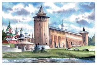 """Открытка акварель Коломна """"Маринкина башня"""""""