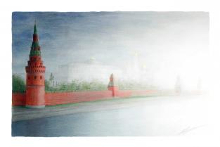 """Открытка Москва """"Кремль, вид с Каменного моста"""""""