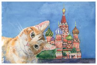 """Открытка Московские коты """"Покровский собор"""""""