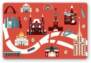 """Открытка иллюстрация Москва """"Карта Москвы"""""""