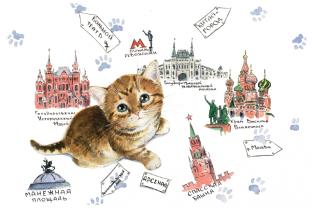 """Открытка Московские коты """"Карта"""""""