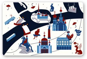 """Открытка иллюстрация Санкт-Петербург """"Карта Петербурга"""""""