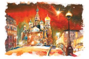 "Открытка Санкт-Петербург ""Храм Спаса-на-Крови, ночь"""