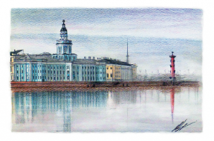 "Открытка Санкт-Петербург ""Кунсткамера музей"""