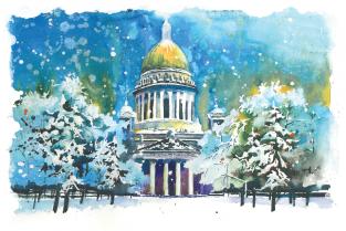 """Открытка Санкт-Петербург """"Исаакиевский собор, зима"""""""